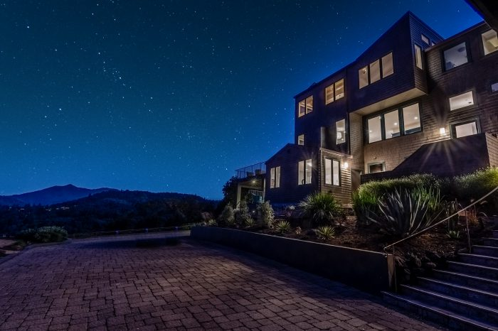 Mt. Tam home at night.