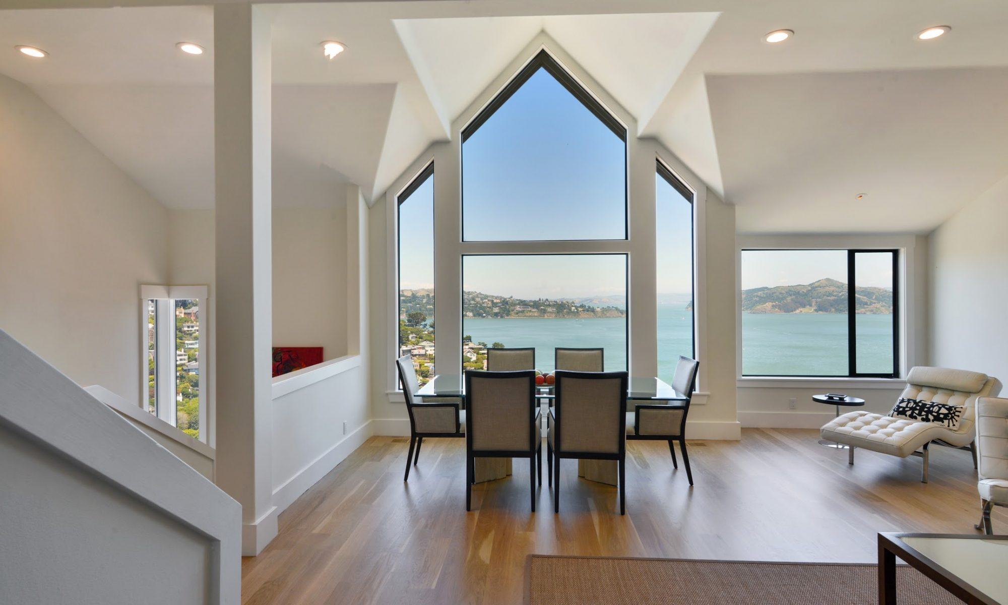 dining room with windows and view