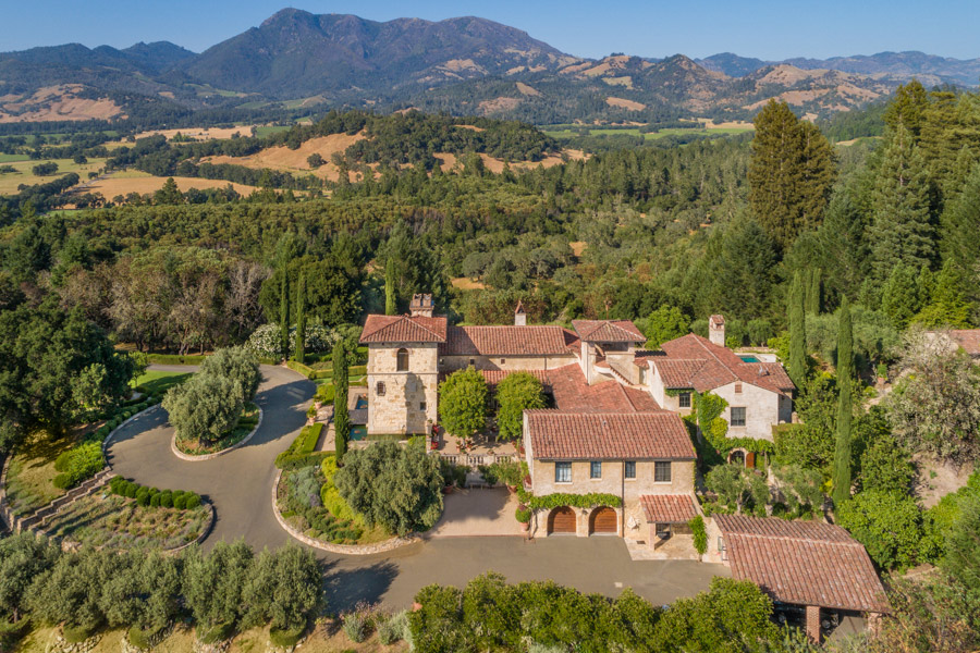 Another aerial view Tuscan Mansion