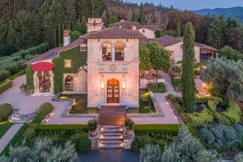 Aerial view Tuscan Mansion