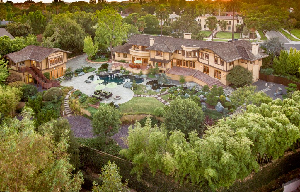 Historic mansion in Pasadena aerial view
