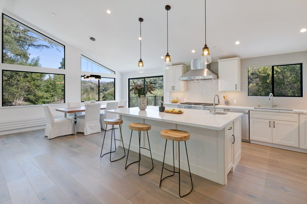 Expansive woodland retreat in San Anselmo kitchen view