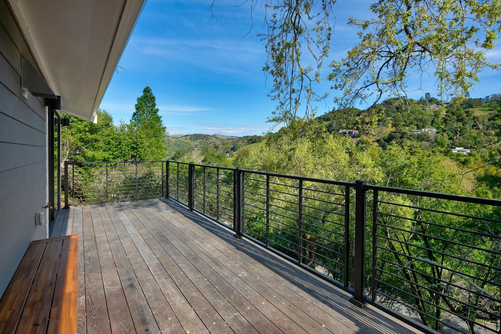 Expansive woodland retreat in San Anselmo outside deck