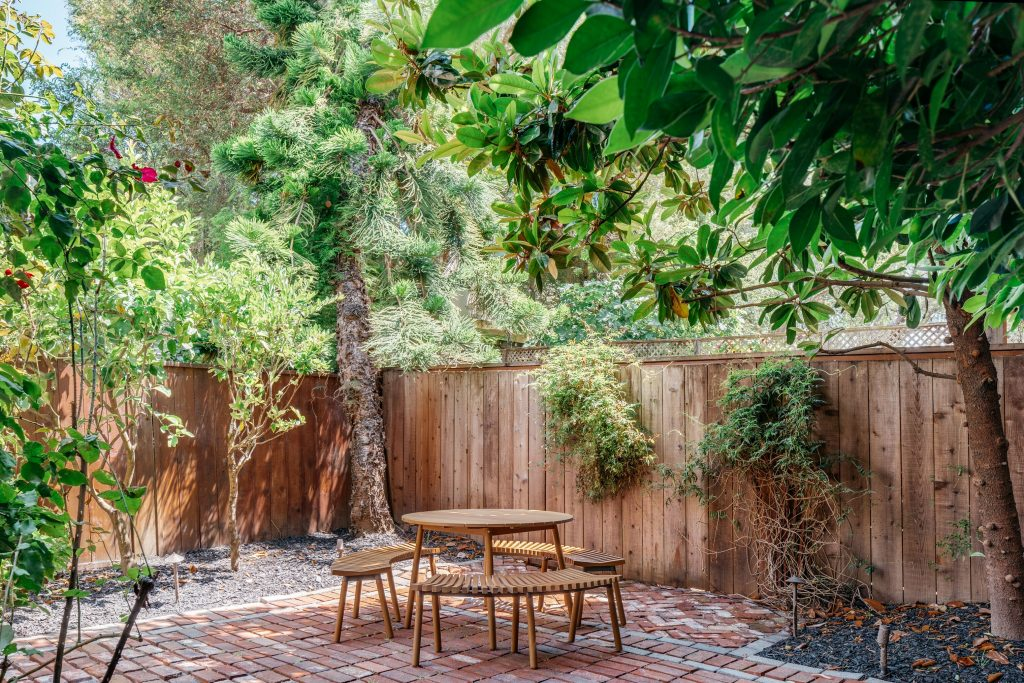 back yard with table.
