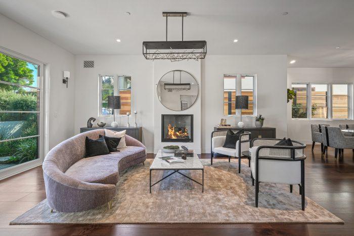 Living room fireplace in Santa Monica