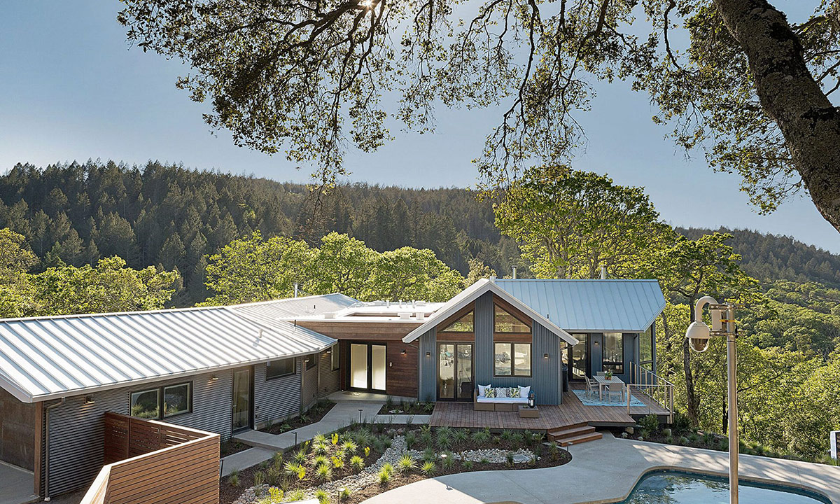 overview of property with pool and trees