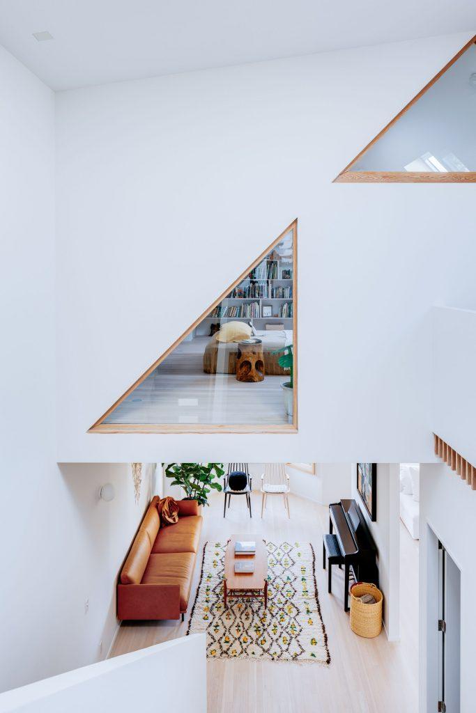 stairwell with designer windows