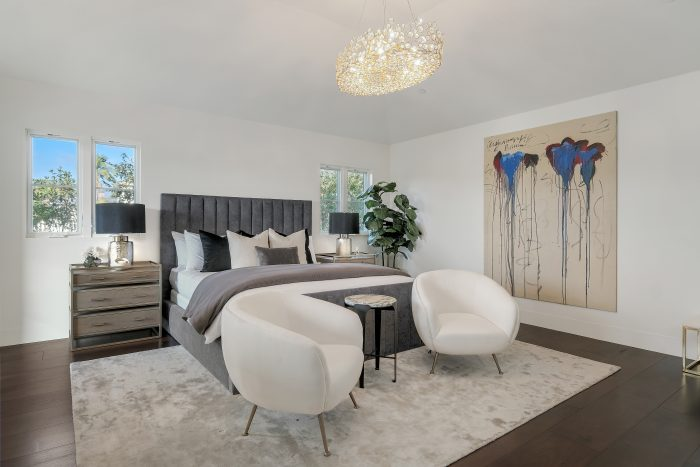 Master bedroom with art