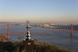 The America's Cup tropy is seen above San Francisco Bay.