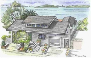 Color sketch of 853 Ocean Ave.