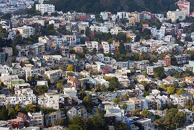 An aerial view of homes in San Francisco's Buena Vista neighborhood
