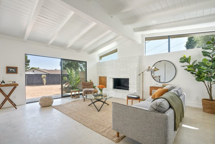 Interior of Altadena home with white ceilings.