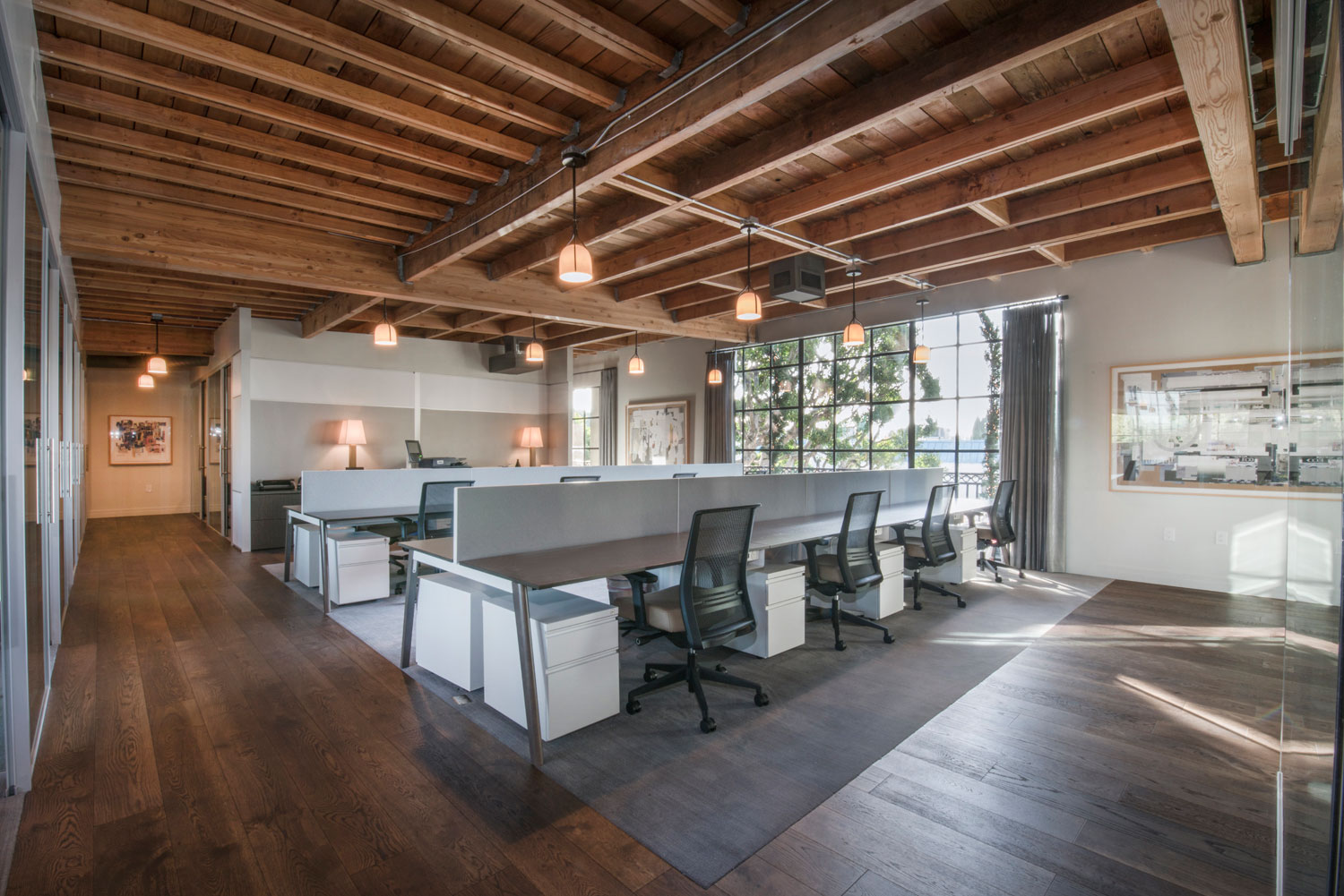 large workspace with beams