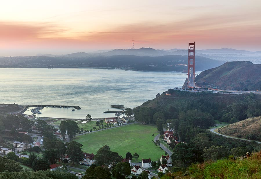 Golden Gate Bridge North side at sunrise