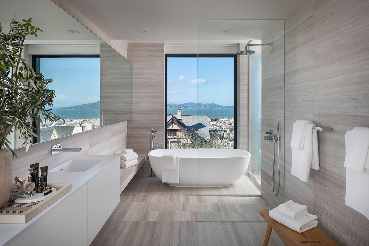modern tub with view of the bay