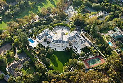 An aerial view of a mansion in the Holmby Hills section of Los Angeles