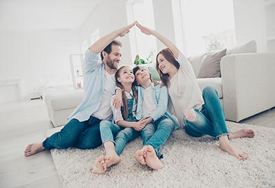 Family in a new home