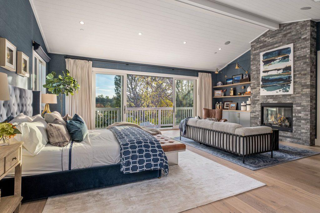 Bedroom with wood ceilings