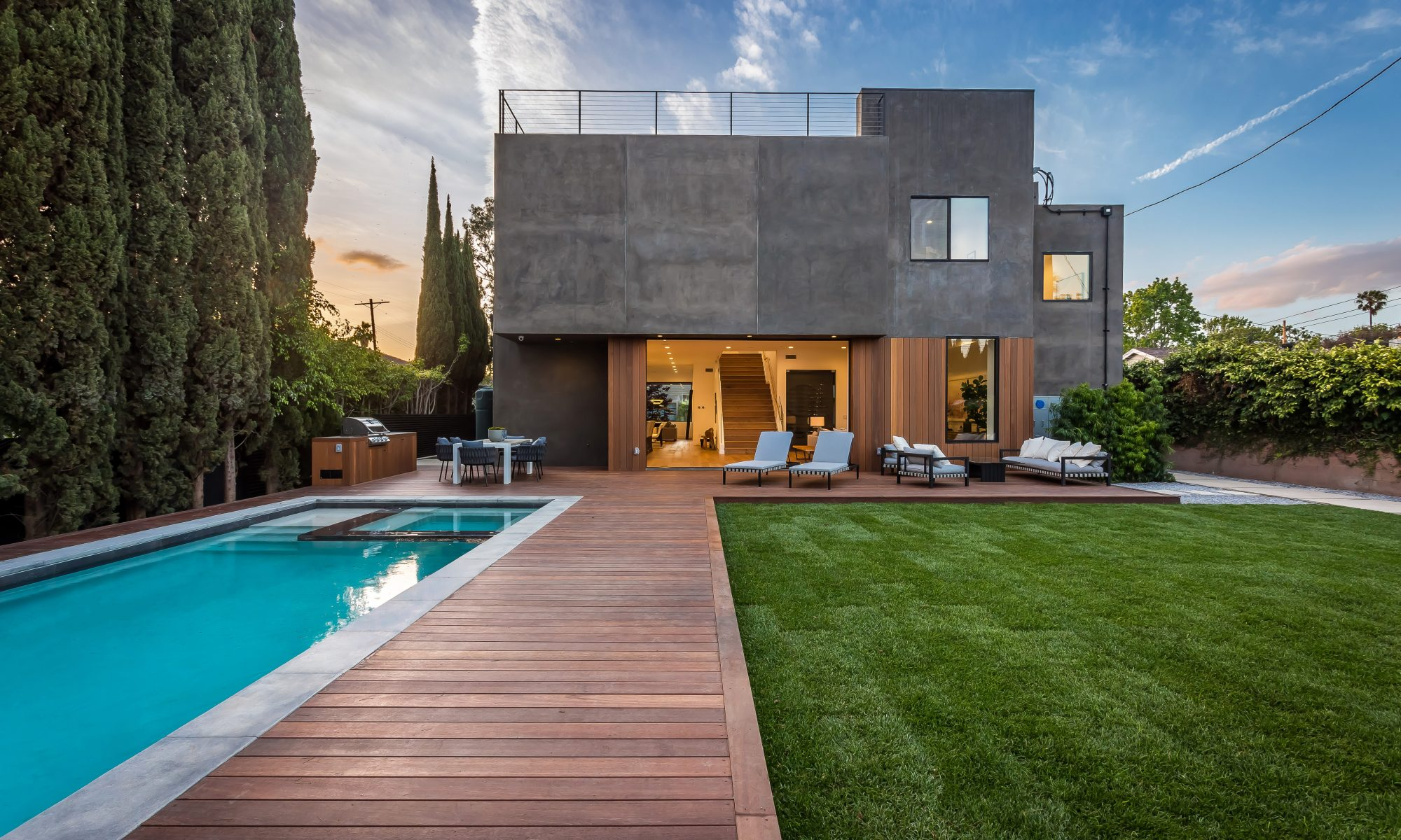 modern home with pool