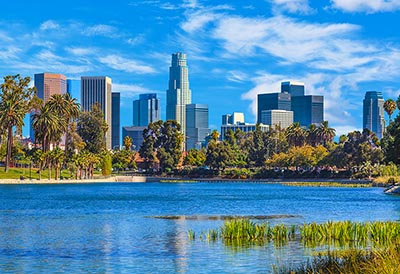 The Los Angeles skyline as seen from Echo Park
