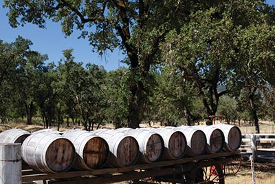Wine barrels on a cart in Napa Valley