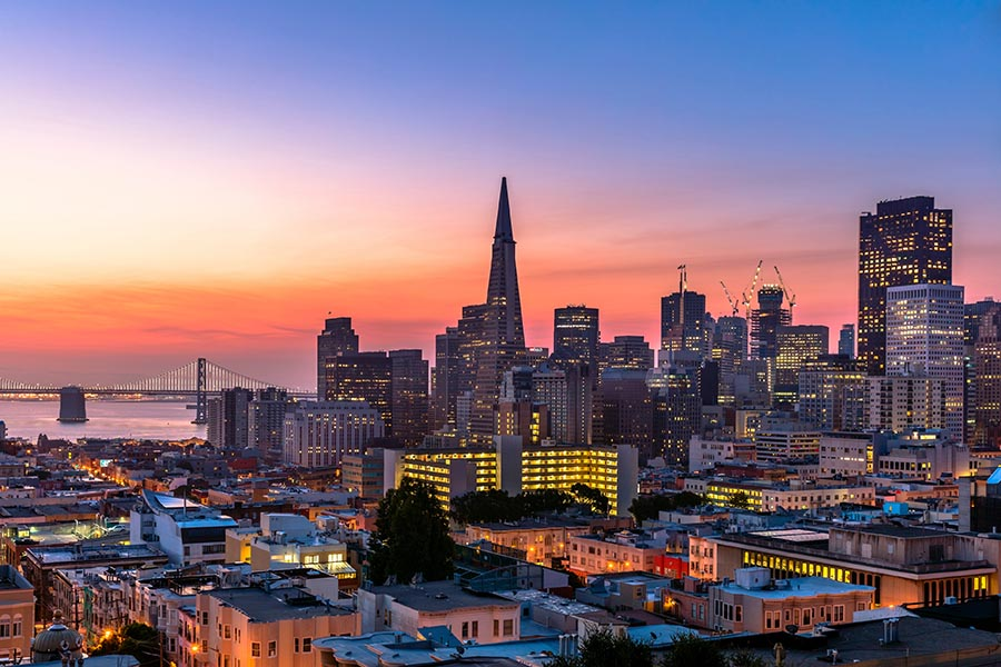 San Francisco downtown at Sunrise