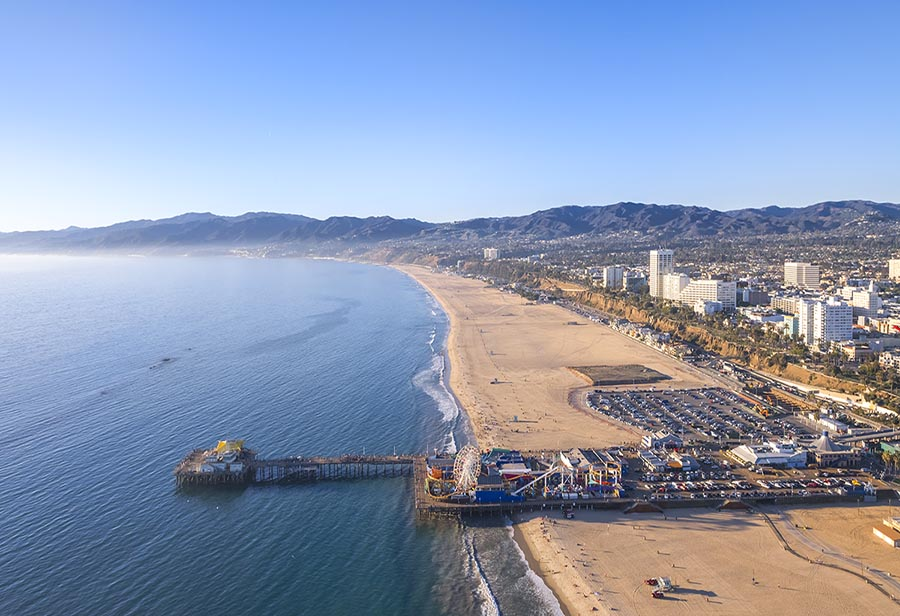 Aerial View of Santa Monica Beach at Sunset