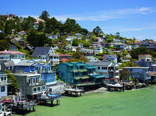 Scenic view of waterfront homes in Sausalito.