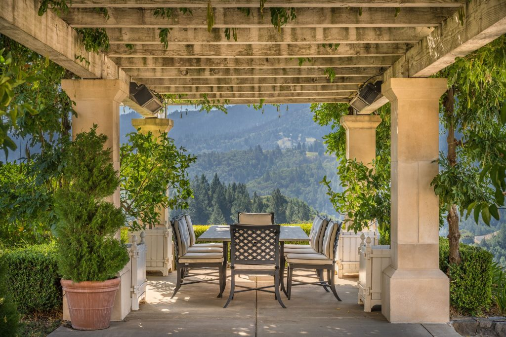 Tuscan style outdoor dining.