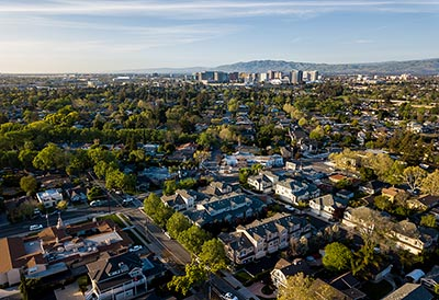 An aerial view of Silicon Valley