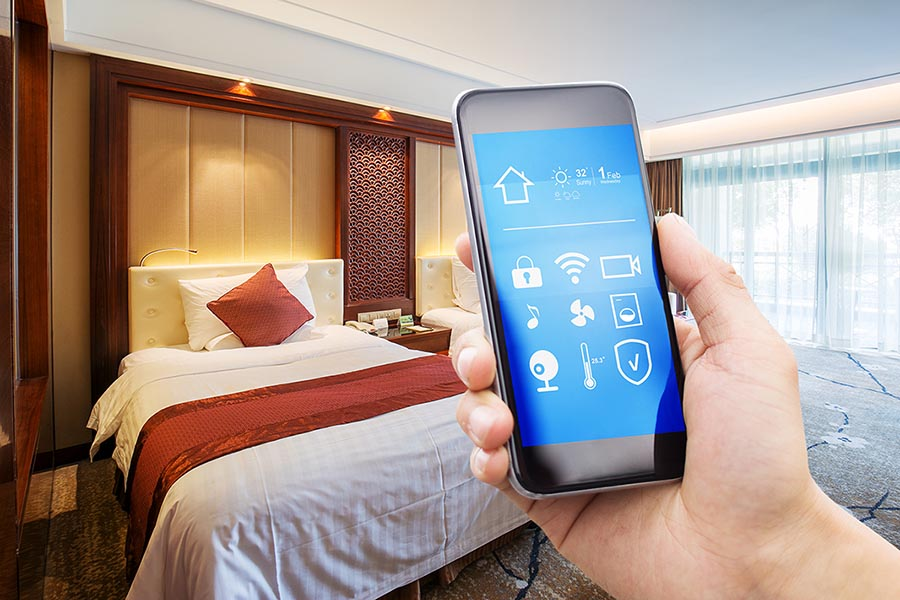 smart phone with modern twin bed room