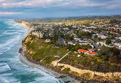 An aerial view of the Southern California coast.