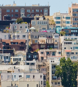 Homes crowded on a San Francisco hill.