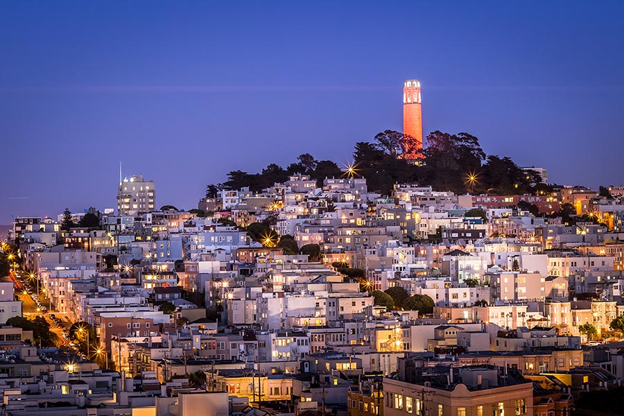 San Francisco Coit Tower on a beautiful night