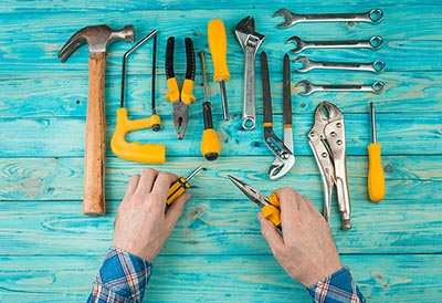 Tools on a blue bench