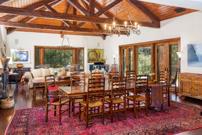 Dining room with wood ceiling