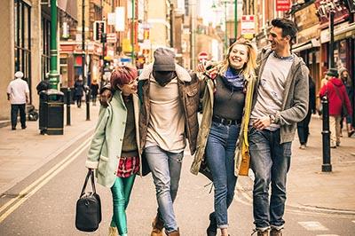 Millennials walking in a city