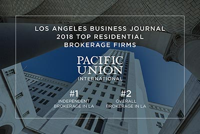 Pacific Union ranked No. 1 independent brokerage in Los Angeles County.