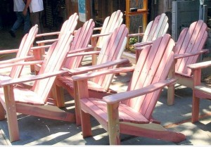 Adirondack chairs made from cedar trees cut down last year.