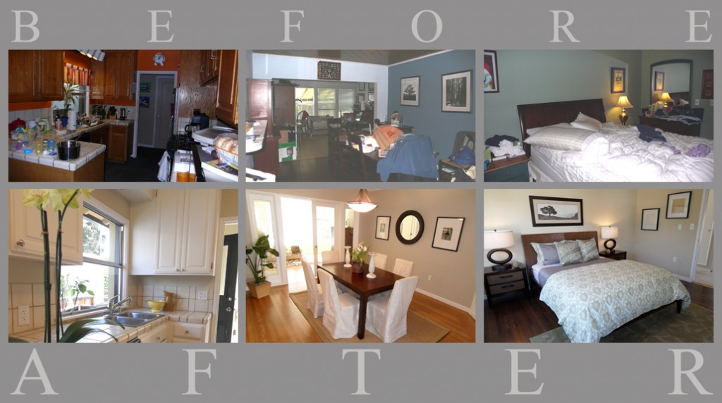 before and after view of staged home
