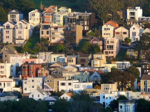 Photo of homes clustered on a hillside in San Francisco's Bewrnal Heights neighborhood.