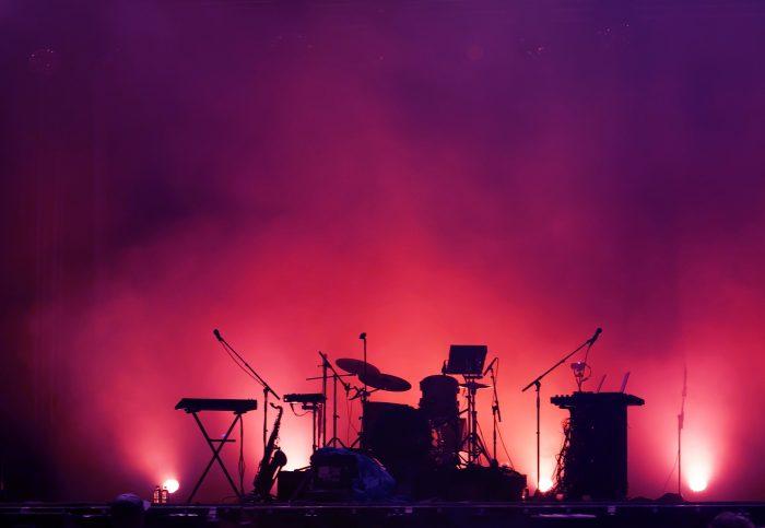 Back lit drum set.