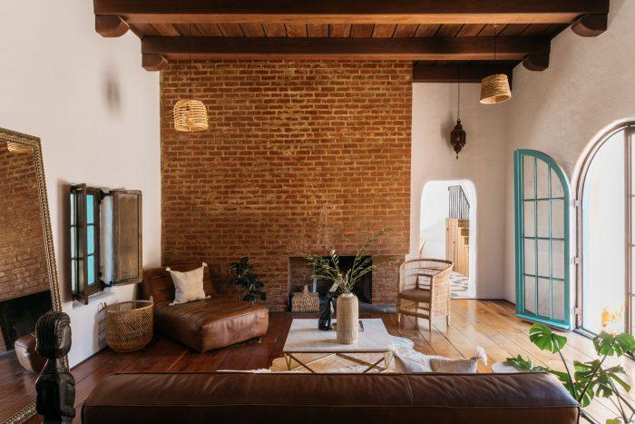 Living room in adobe home.