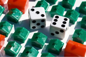 Illustration of Monopoly game pieces and dice