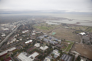 Google's headquarters is right next to Moffett Field (from where the Airship Ventures zeppelin takes off). In fact Google has leased part of Moffett for a future office and housing complex, and Larry and Sergey keep a 767 there.