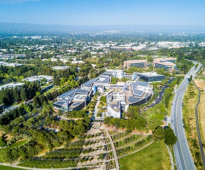 An aerial view of Google's headquarters in Mountain View, California