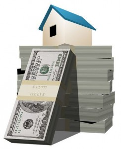 Illustration of a home sitting atop stacks of money