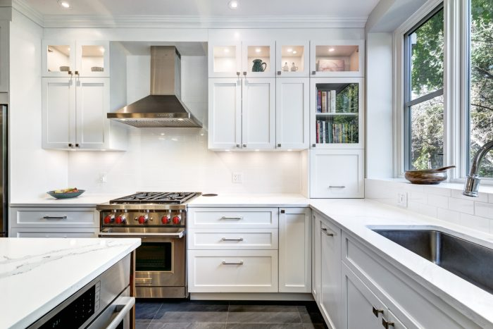 A modern white kitchen with luxury finishes.