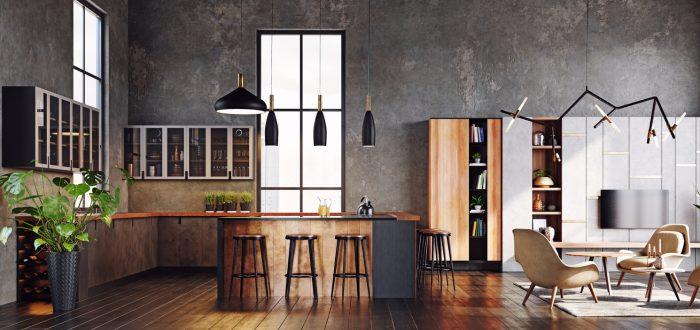 A dramatic moody kitchen.