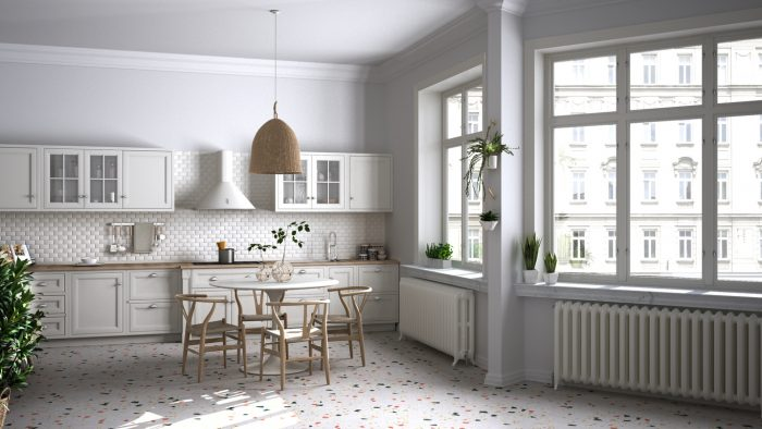 Terrazzo floors in a vintage inspired kitchen.